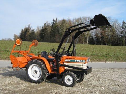 kleintraktor schmalspurtraktor minitraktor kubota b1702m allrad mit frontlader und fr se youtube. Black Bedroom Furniture Sets. Home Design Ideas