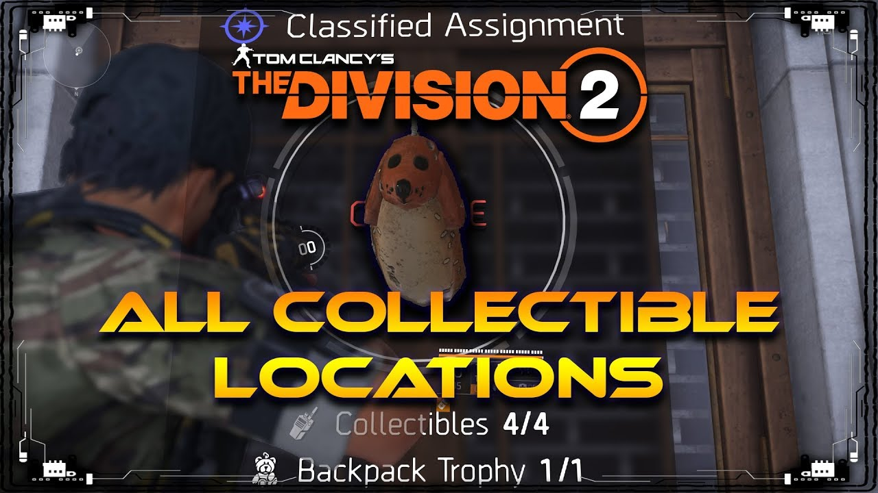 The Division 2 | 1st Classified Assignment All Collectible Locations &  Backpack Trophy | Keychain