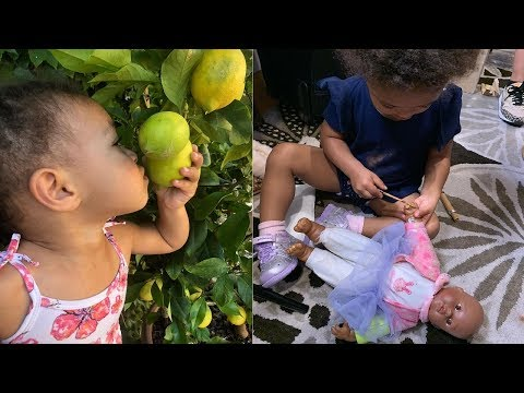 Serena Williams's daughter, Alexis Olympia taking baby Qai Qai for a walk⭐Serena WIlliams daughter