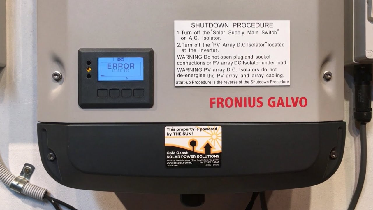 Fronius Galvo Primo And Symo Inverter State 102 Error