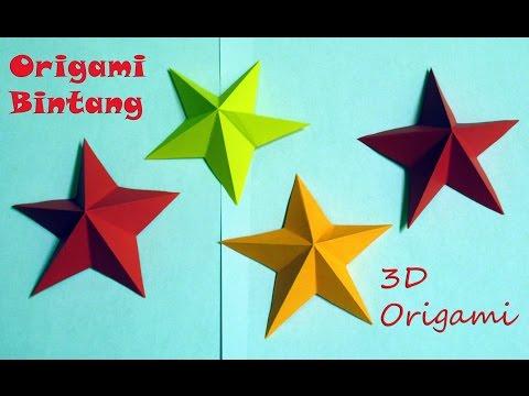 Cara membuat origami bintang 3D dengan mudah origami star easy