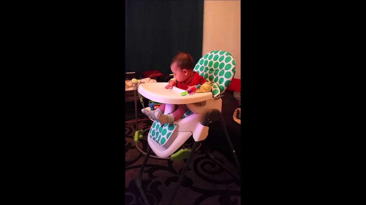 Baby girl Aya on highchair 6 months old YouTube