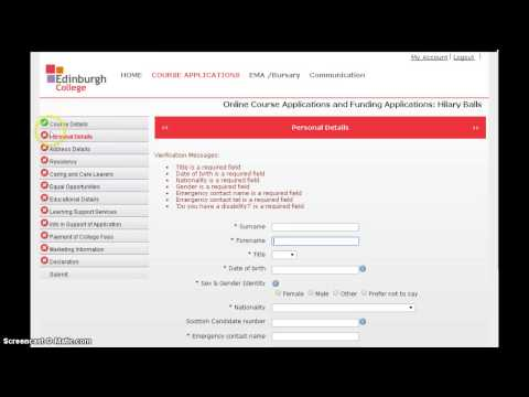 How to do online application to Edinburgh College