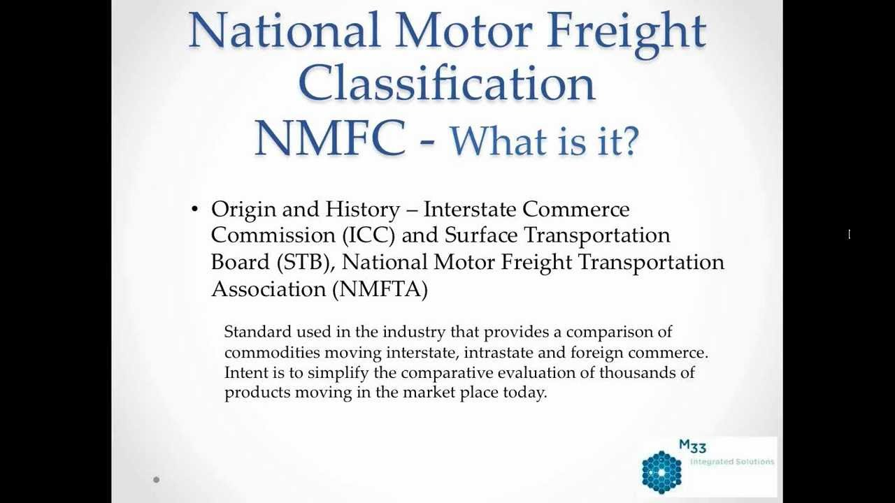 National motor freight clification codes for National motor freight code