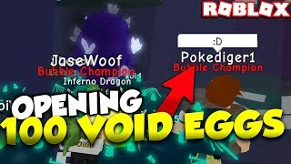OPENING 100 VOID EGGS WITH POKE!? THE IMPOSSIBLE LEGENDARY PET | Roblox Bubble Gum Simulator