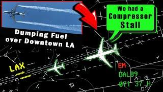 Delta B772 has COMPRESSOR STALL AT LAX   Dumps Fuel all over LA!