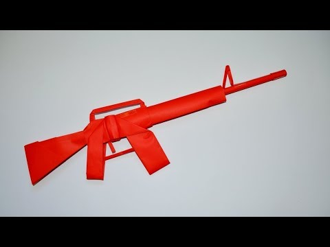 How to make a paper gun - M 16 - DIY - paper toy - origami