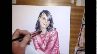 Speed painting in watercolor - Girl in red dress