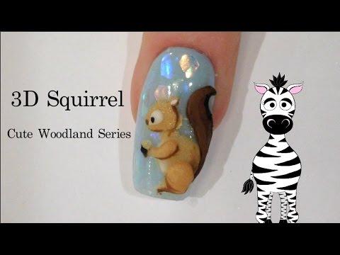 3D Squirrel Acrylic Nail Art Tutorial   Cute Woodland Series