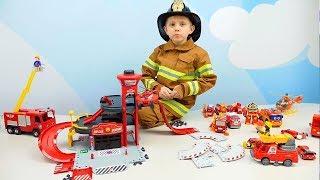 Пожарные Машинки для детей и Пожарный Даник + Полицейские машинки и строительные для Мальчиков