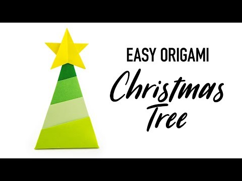 Easy Origami Christmas Tree & Star Tutorial - DIY - Paper Kawaii