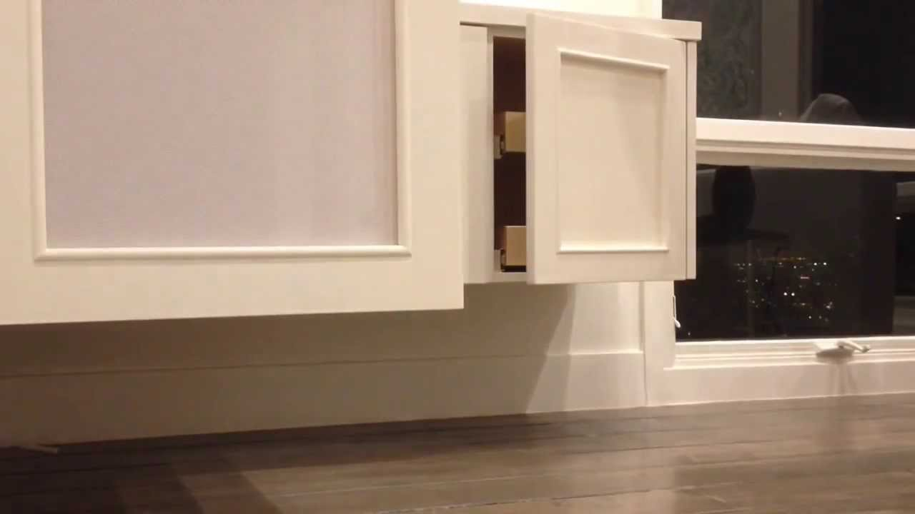 A Floating Tv Cabinet With Speaker Cloth Doors Youtube