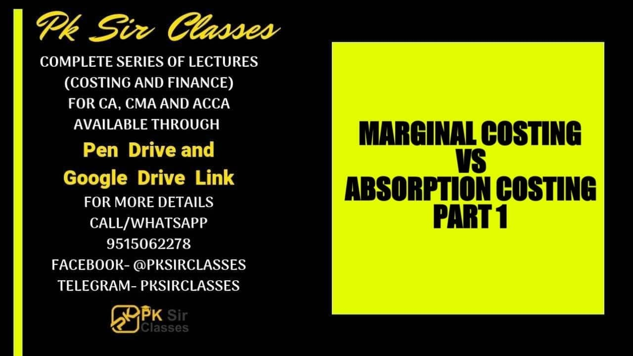 marginal costing vs absorption costing Overview of absorption and variable costing variable costing absorption costing dm dl product pd t dm dl vmoh product costs costs vmoh vs&a period period vs&a ct fmoh fs&a costs.