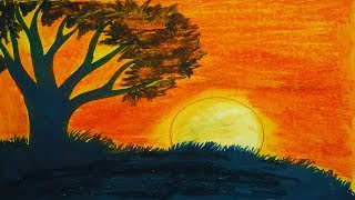 Amazing Scenery of Sunset | How to Draw Scenery of Sunset with Pastel Color | Toma's Drawing