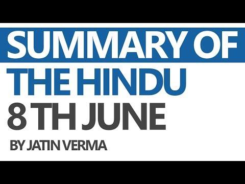 (Hindi) The Hindu - Daily News Analysis for 8th June 2017