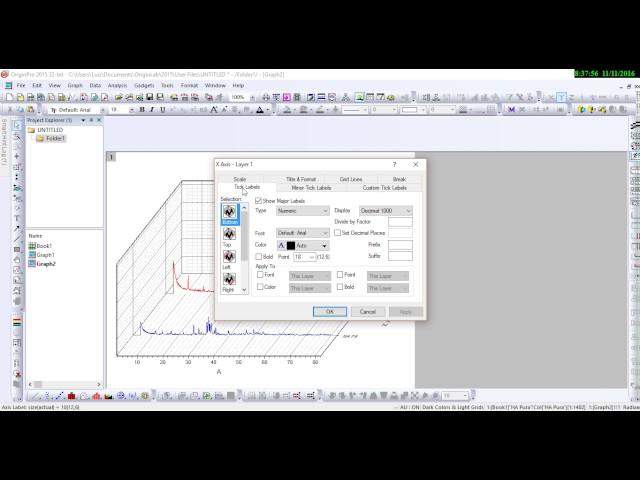 Gráfico DRX no Origin modelo Waterfall