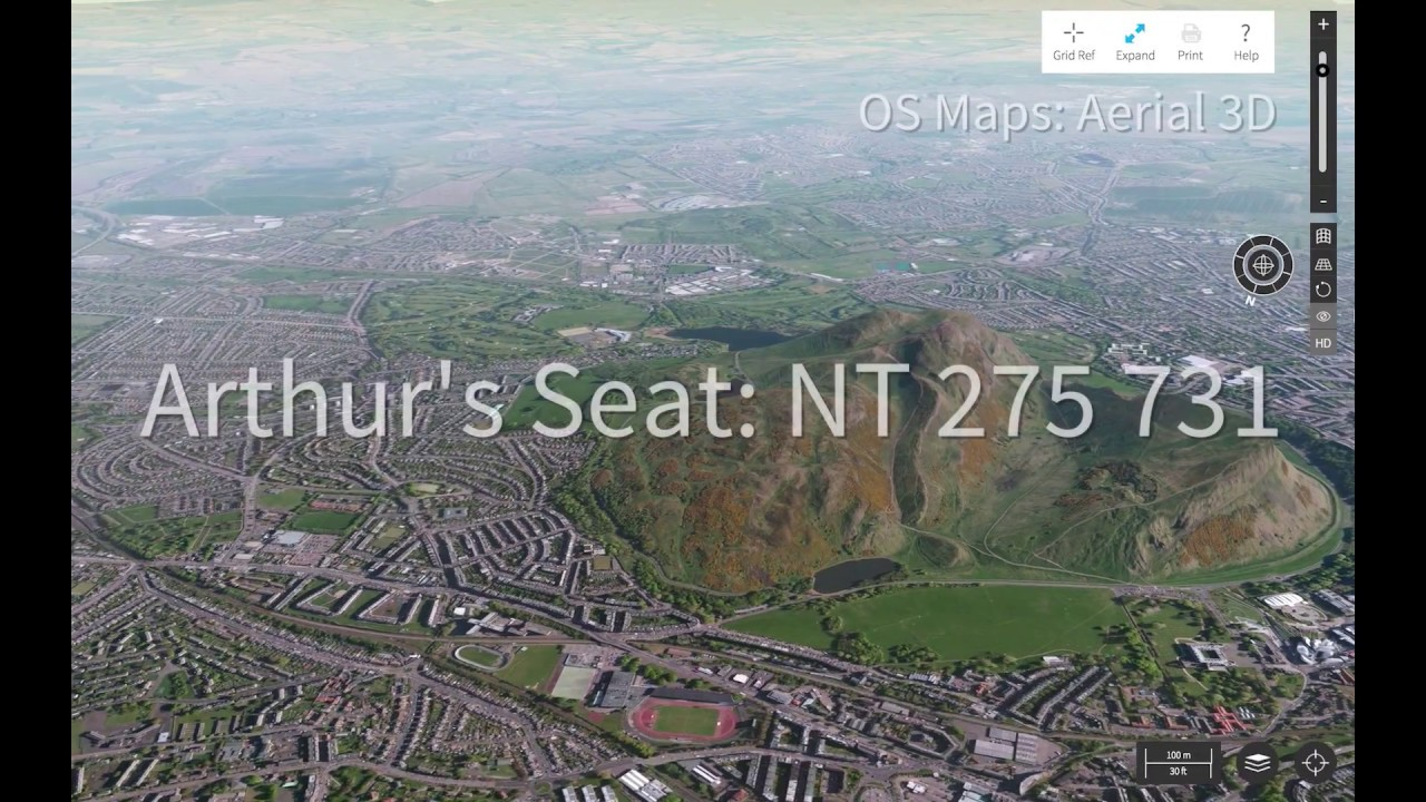Aerial 3d Arthur S Seat And Edinburgh In Os Maps Youtube
