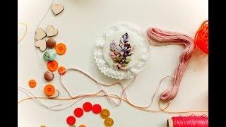 БРОШЬ с вышивкой лентами за 20 минут. Вышивка лентами / How to embroider a brooch with ribbons