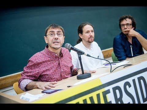 MAGISTRAL, JUAN CARLOS MONEDERO, PABLO IGLESIAS Y JOSÉ MARÍA GONZALEZ (KICHI) cara a cara.