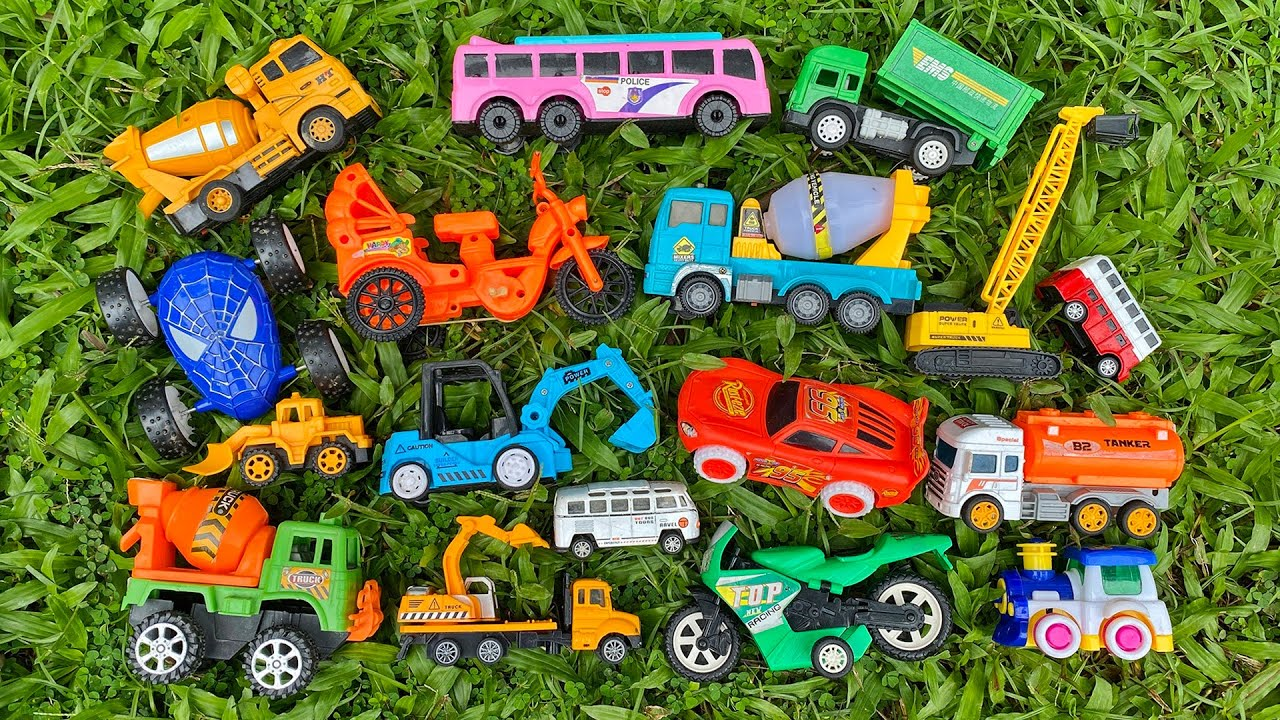 After reviewing, I left various medium size toy vehicles in the bushes by PlayToyTime TV