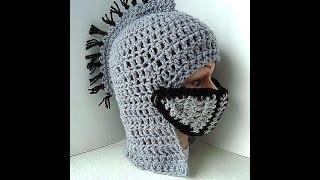 DIY knight's helmet hat free crochet tutorial, King Arthur's Court, VIKING HAT, Gladiator, Halloween