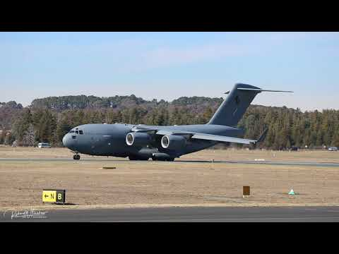 RAAF Boeing C17 Globemaster III taking off from Canberra