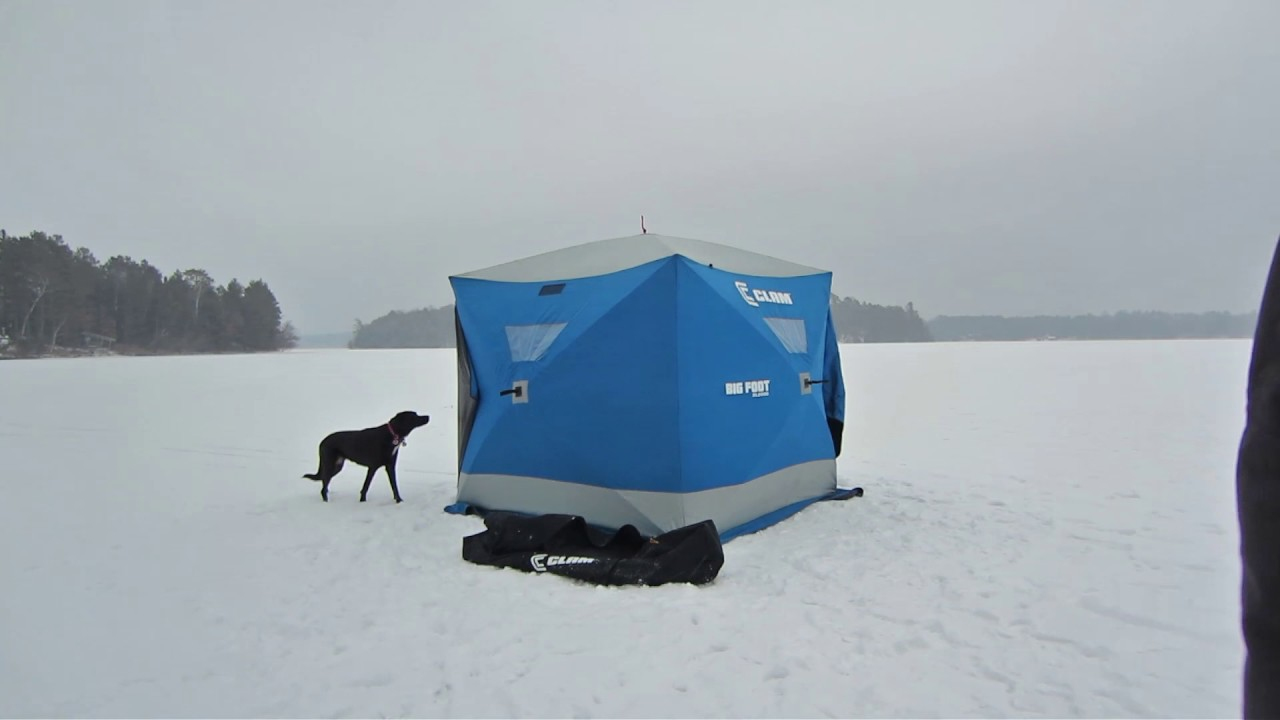 Clam bigfoot xl2000 ice fishing pop up hub shelter review for Clam ice fishing shelters