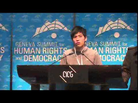 Alex Chow and Lester Shum of HKFS, address the 2015 Geneva Summit for Human Rights