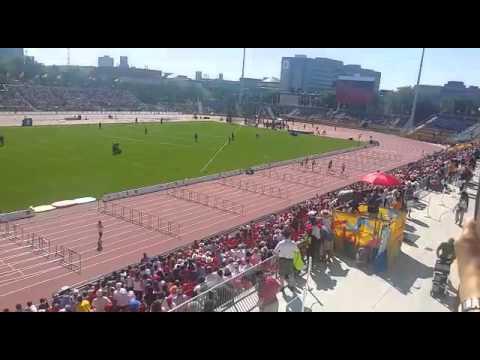 Virgin Islands Athletics Athlete Eddie Lovett today on the track for the 110m Hurdles
