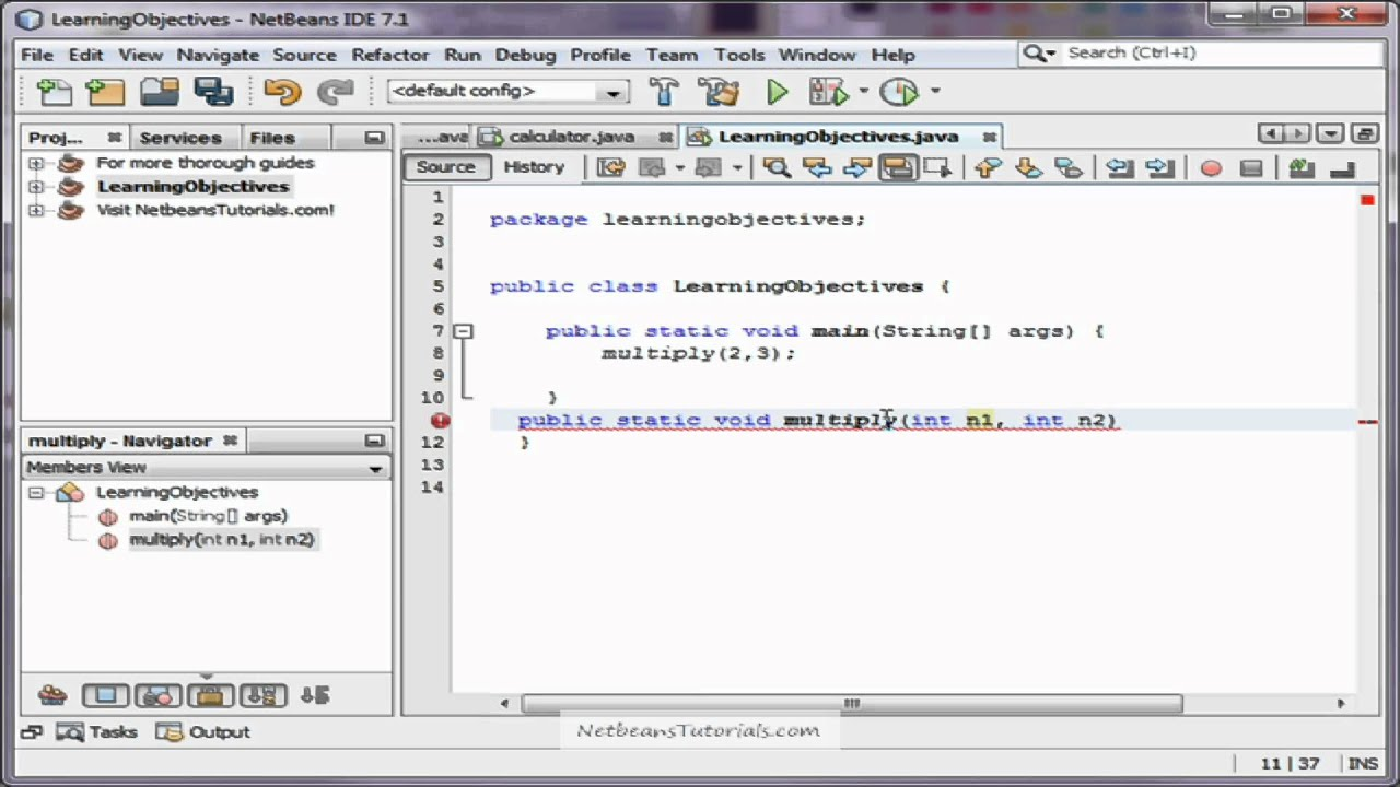How to call your own method in Java with Netbeans