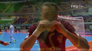 Match 46: Russia v Spain - FIFA Futsal World Cup 2016(Watch quarter-final highlights of the match between the Russian and Spanish futsal teams from the Futsal World Cup in Colombia. MORE COLOMBIA 2016 ..., 2016-09-25T01:49:16.000Z)