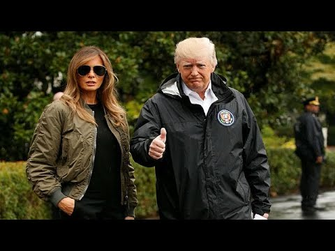 Donald Trump arrives to survey flood-hit Texas
