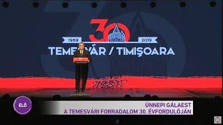 Orbán Viktor miniszterelnök beszéde a temesvári forradalom 30. évfordulóján rendezett gálaesten