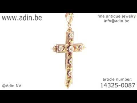 Superb Antique French Victorian cross in four colors gold. (Adin reference: 14325-0087)