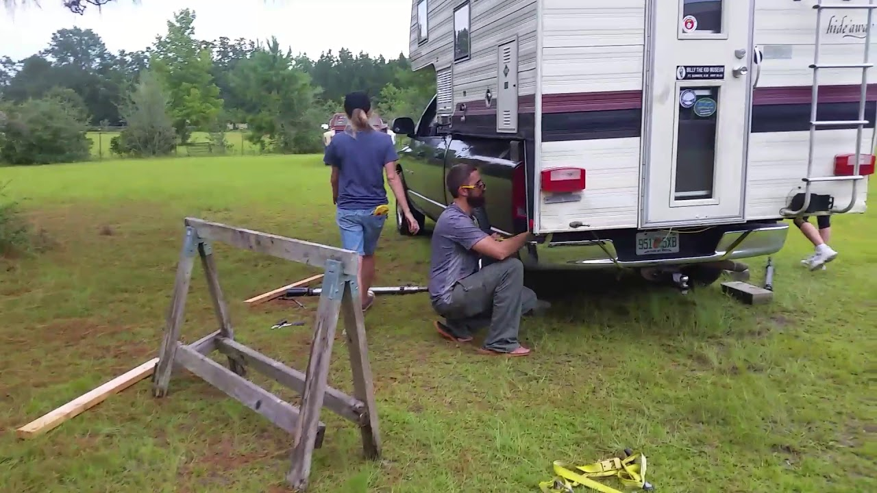 How To Load Camper With No Jacks Youtube