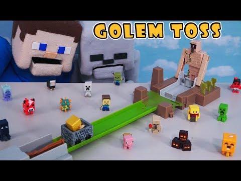 Minecraft Hot Wheels IRON Golem Toss Playset Unboxing Mattel Mini Figures Blind Box Puppet Steve