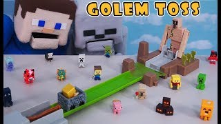 Minecraft Hot Wheels IRON Golem Toss Playset Unboxing Mattel Mini Figures Blind Box, Puppet Steve