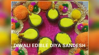 DIWALI SPECIAL- DIYA SHAPED CHOCOLATE AND COCONUT SANDESH