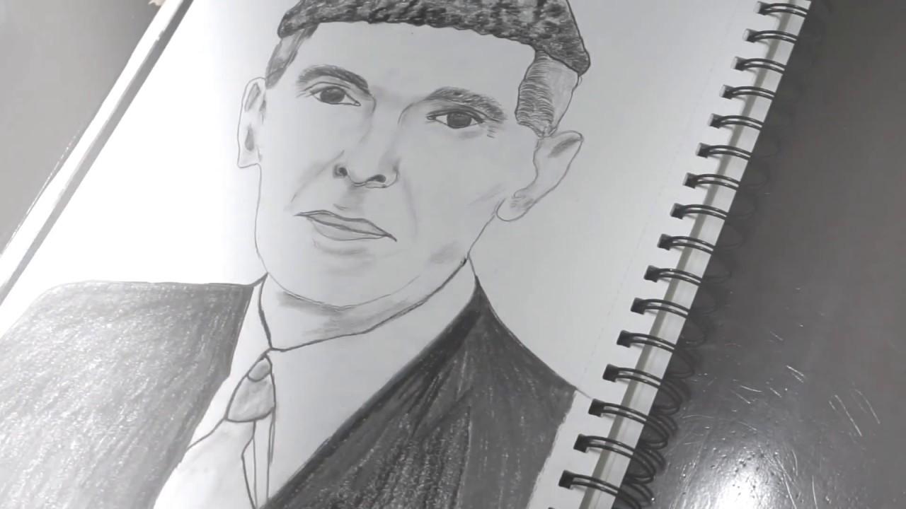 Sketch of the founder of pakistan quaid e azam 2017