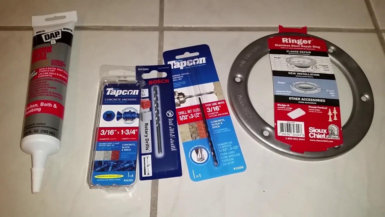Broken Plastic Toilet Flange Repair Kit   Sioux Chief Metal Repair Ring U0026  Tapcon Screws