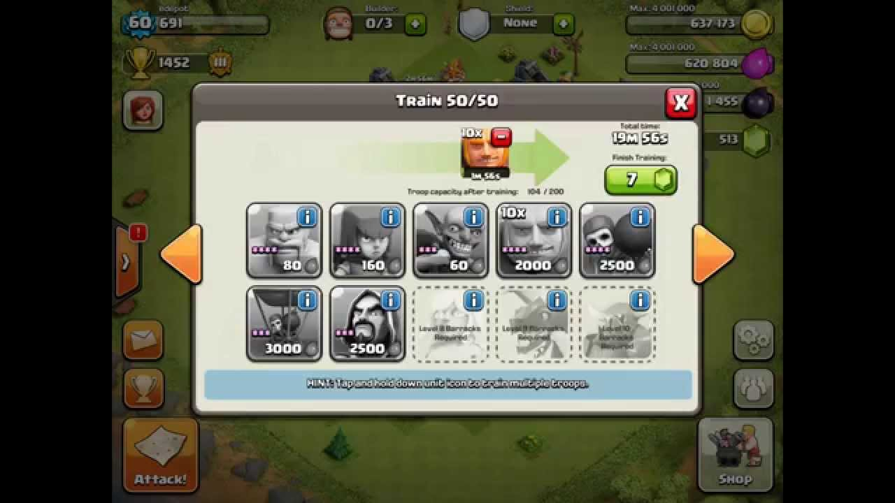 Clash Of Clans Best Attack Troop Combination Youtube