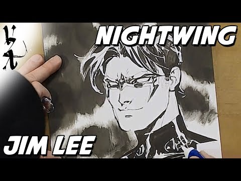 Jim Lee drawing Nightwing during Twitch Stream