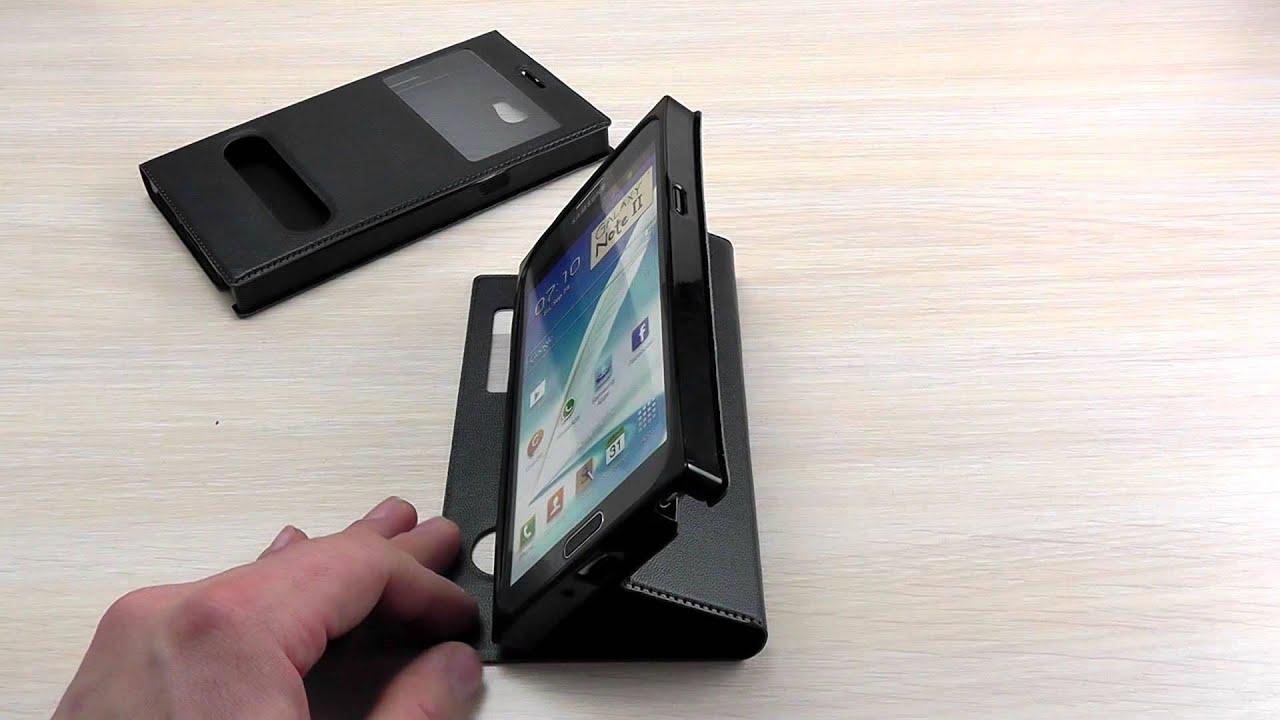ОБЗОР: Модный Кожаный Чехол-Книжка для Samsung Galaxy Note 2 GT .