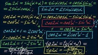 Синус и косинус двойного и половинного угла. Тригонометрия-9