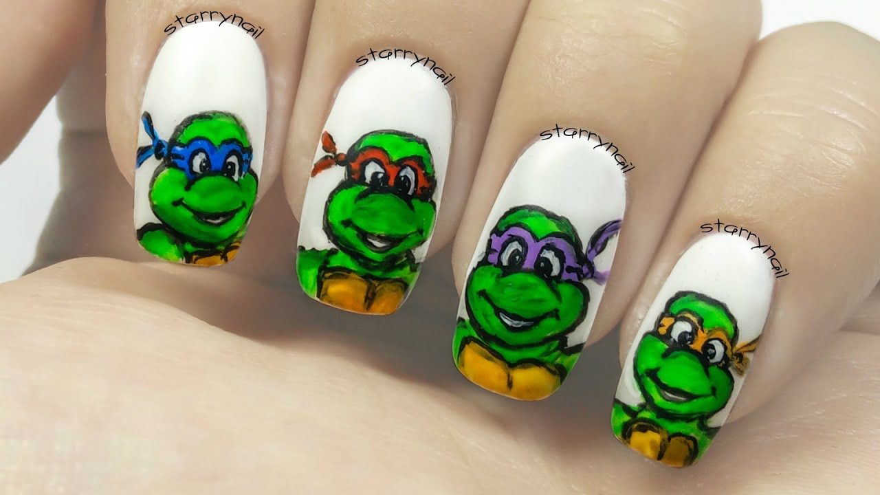 Ninja Turtles [Freehand Nail Art] - YouTube
