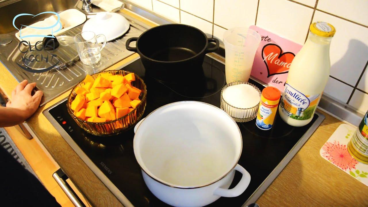 Milchreis mit Hokkaido Kürbis im Topf zubereiten