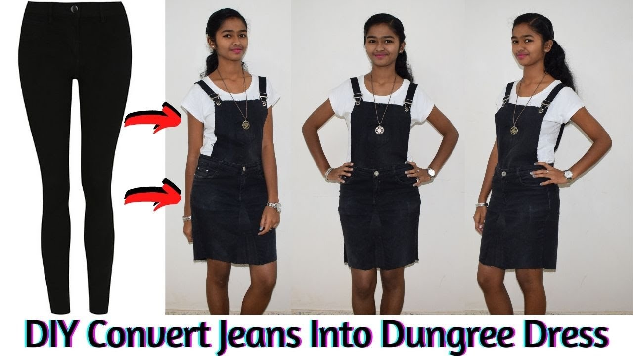 DIY: Convert/Reuse/Recycle Jeans Into a Detachable Dungree Dress and ...