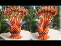HOW TO MAKE 3D ORIGAMI PEACOCK V5 | cómo hacer pavo real origami 3d