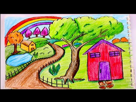 رسم منظر طبيعي لفصل الشتاء رسم سهل جدا للمبتدئين بالالوان الخشبيه
