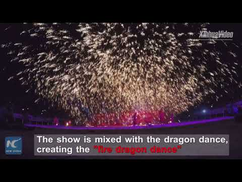 Watch China's extreme fireworks show! It's created by molten iron